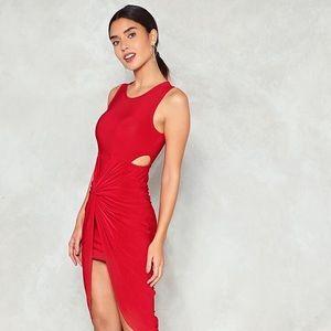 Nast Gal Red Ruche Midi Dress